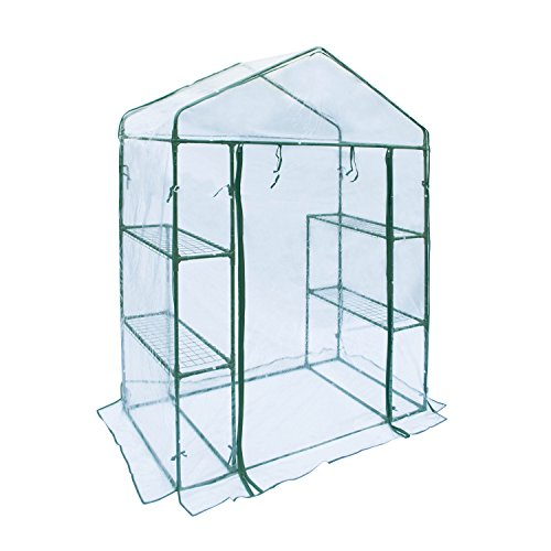 ALEKO GHTR56X29X77 Transparent Walk In 4 Shelves Garden Plant Outdoor Greenhouse Shed 56X29X77 Inches by ALEKO