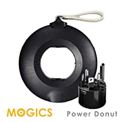 World's Only Travel Power Strip - for about 150 countries ● MOGICS Power Donut with 5 US AC Socket + 2 USB ports ● Travel Adapter - MA1 ● More safe - 6.3A fuse ● with a circle style case (PS: This product is one power strip not a transformer....