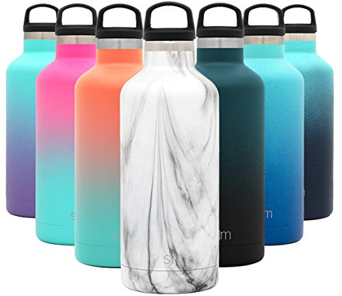 Simple Modern 32oz Ascent Water Bottle – Hydro Vacuum Insulated Tumbler Flask w/Handle Lid – Double Wall Stainless Steel Reusable – Leakproof Pattern: Carrara Marble