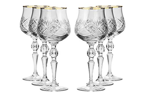 Set of 6 Vintage Russian Crystal Classic Red Wine Goblets with Gold Rim, Old-Fashioned Glassware