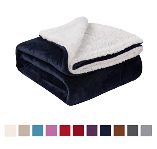 Nanpiper Sherpa Blanket Warm Blankets for Winter Super Soft Fuzzy Flannel Fleece/Wool Like Reversible Velvet Plush Couch Blanket (Navy Blue Throw Size 50