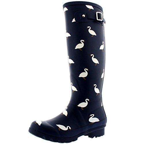 Polar Products Womens Animal Print Winter Snow Rain Rubber Waterproof Wellington Boots Navy - Swan X926Smnu
