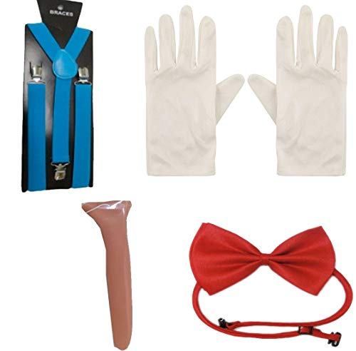 Rimi Hanger Adult Fancy Dress Costume Kit Long Nose Red Bow Tie Braces and White Gloves Set One Size -