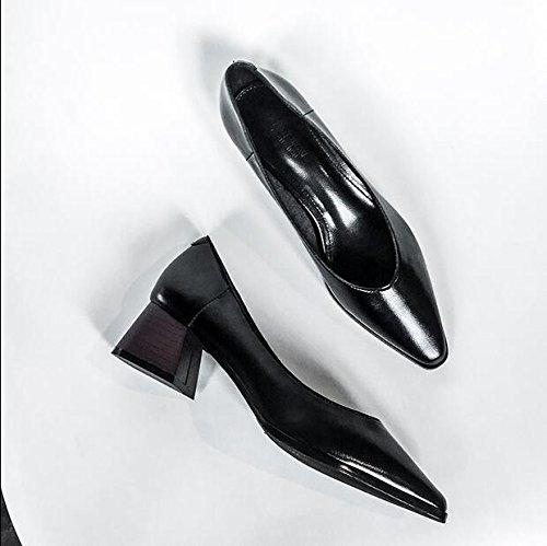Xue Qiqi Court Schuhe Wilder Flacher Mund Mund Mund der Spitzen Schuhe mit Einer Einzelnen Schuhfrau mit Schaufelschuhen Zum der Hohen Absätze 35 Schwarz zu Arbeiten 5d860b