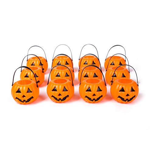 Xena Halloween Decorations 12 Pack Mini Pumpkin Set 2 Inch Orange Decoration Home Office Kids Party Supplies Fun Decor LED Tea Light Holder Trick or Treat -