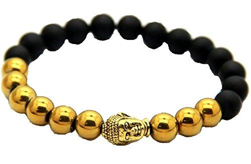 JY Jewelry Black Matte Agate Stone Hematite Beads Gold Buddha Bracelets