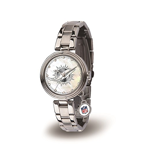 NFL Miami Dolphins Charm Watch, Silver