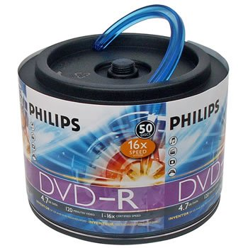 Philips 16x 4.7GB 120-Min DVD-R Media 50-Pack by Philips