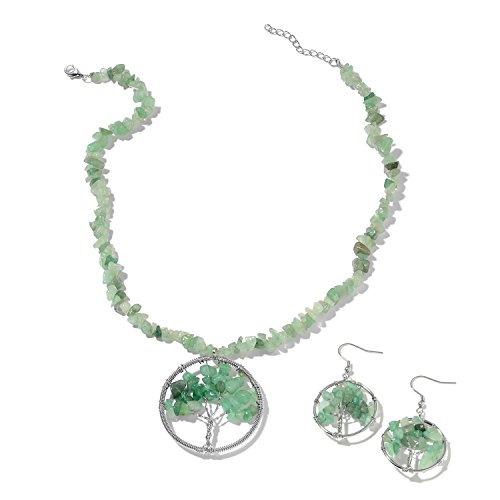 Green Aventurine Copper Tree Shepherd Hook Dangle Drop Earrings Necklace Jewelry Set for Women Gift Size 18-20