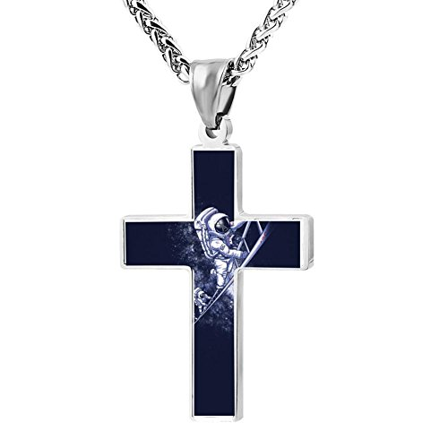 - Simple Small Zinc Alloy Religious Cross Necklace For Men Women,Print The Earth Ladder To Space