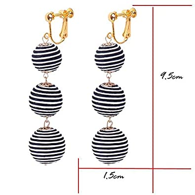 Pompom Ball Dangle Clip-on Earrings for Girls Layered Round Thread Balls Bar Prom Gold-tone Drop