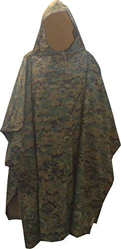 Fire Force Military Style Ripstop Nylon Poncho Size: 55 x 90 Made in U.S.A. Ripstop Rain Poncho (MARPAT Woodland)