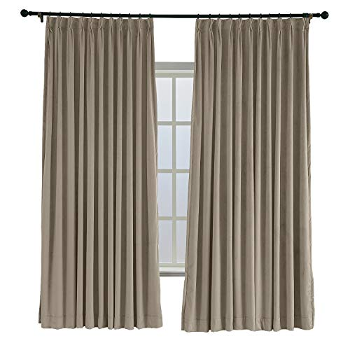 (TWOPAGES 100 W x 96 L Pinch Pleated Curtains Room Darkening Velvet Curtain Drapery Panel for Traverse Rod Or Track, Living Room Bedroom Meetingroom Club Theater Patio Door (1 Panel), Gray Beige)