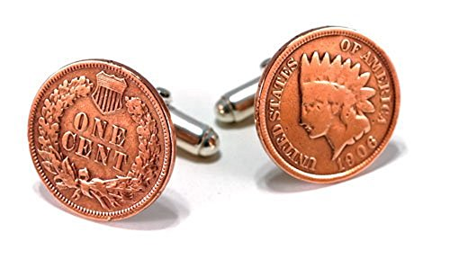 - Indian Head Penny Cufflinks with Sterling Silver Actions. Made in the USA