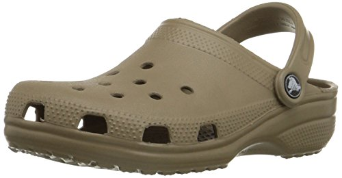 Crocs Men's and Women's Classic Clog, Comfort Slip On Casual Water Shoe, Lightweight, Khaki, 12 US Women / 10 US Men