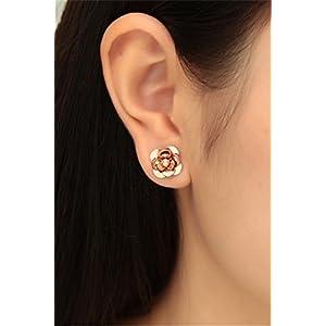 Fashion Creative Plated 18k Rose Gold Color jinshan Camellia Earrings earings Dangler Eardrop Women Girls Models Steel Unique Gift 77