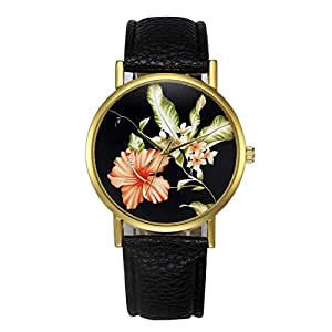 Yoyorule Fashion Womens Retro Design Leather Band Analog Alloy Quartz Wrist Watch (Black)