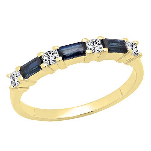 Dazzlingrock Collection 10K 4X2 MM Baguette Blue Sapphire & Princess Diamond Ladies Wedding Band, Yellow Gold, Size 7