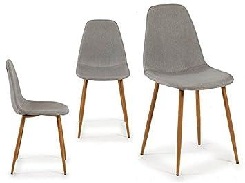 takestop Juego de 4 sillas Silla Tela Gris 53 x 45 x 86 cm Chic ...