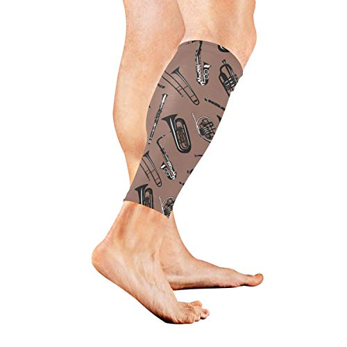 Anyangquji French Horn Trumpet Trombone Sports Calf Compression Sleeve Strong Calf Support for Runners(1 Pair)