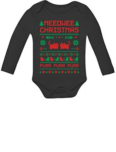 Tstars Meeowee Christmas Ugly Sweater Design Cute Xmas Infant Baby Long Sleeve Bodysuit 18M (12-18M) Black