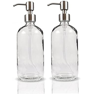16oz Clear Glass Boston Round Bottles with Stainless Steel Pumps (2 pack), Great for Essential Oils, Lotions, Liquid Soaps