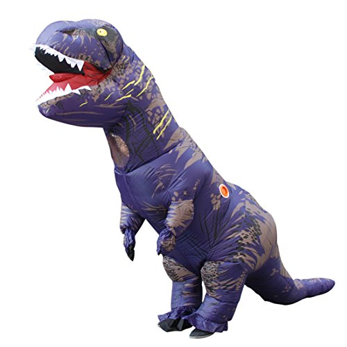 Halloween Adult Inflatable Jurassic Dinosaur T-Rex Costume Fancy Dress Cosplay Purple