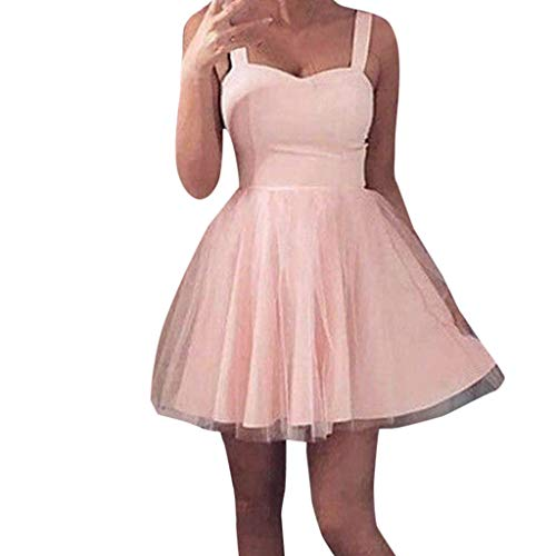 ANJUNIE Women Formal Short Lace Dancing Dress Tulle Prom Evening Party Cocktail Bridesmaid Gown Dress(Pink,S)