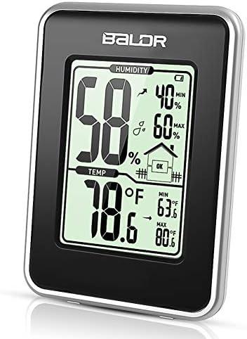 TEKFUN Thermometer Hygrometer, Innen Thermometer Hygrometer Digitales Thermo-Hygrometer Digital Luftfeuchtigkeit Messer mit LCD Schirm für Schlafzimmer, Büro, Wohnzimmer (BLACK2)