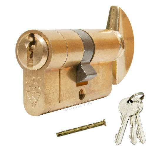 UAP MAX6MUM Anti-Snap Thumbturn Euro Cylinder Antique Brass 50/50 T (100mm overall) Lock - with 3 extra keys (6 Total) - Kitemarked High Security door lock. by UAP - Thumbturn Key