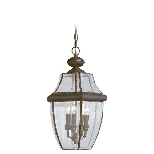 Sea Gull Lighting 6039-71 Lancaster Three Light Outdoor Pendant, Antique Bronze Classic 3 Light Outdoor Pendant