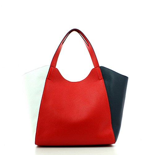 pochette Coccinelle Rosso Perine in pelle Borsa con Bianco interna Blu TXqBO
