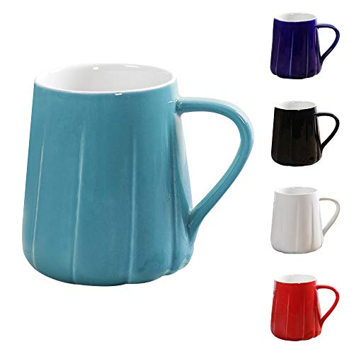 Porcelain Fluted Coffee Mug Ceramic Elegant Smooth Tea Cup Perfect Gift for Family and Friend Large Capacity 14 oz