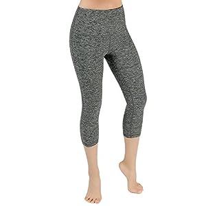 "ODODOS High Waist 18"" Yoga Capris Pants Tummy Control Workout Running 4 Way Stretch Yoga Capris Leggings,CharcoalHearher,Medium"