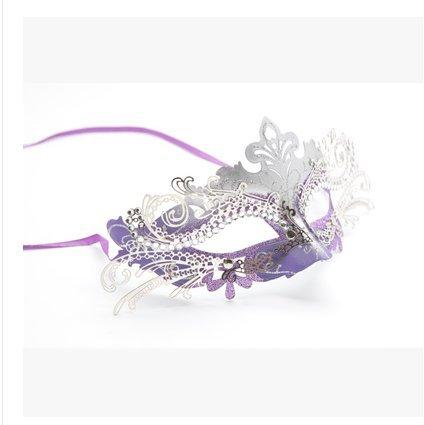 JinYiDian'Shop-Maschera di Halloween, in Materiale Metallico, Signora della Maschera, Party Speciali,Viola