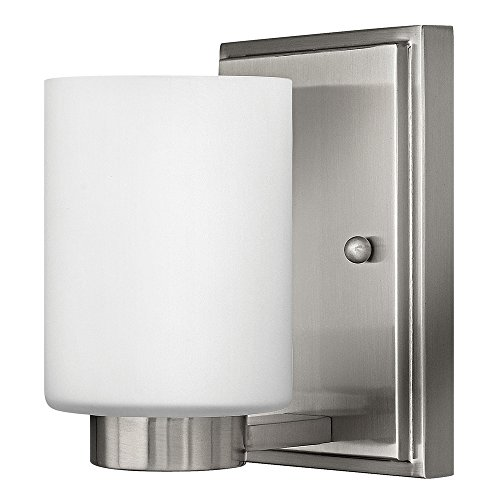 Hinkley 5050BN Transitional One Light Bath from Miley collection in Pwt, Nckl, B/S, Slvr.finish,