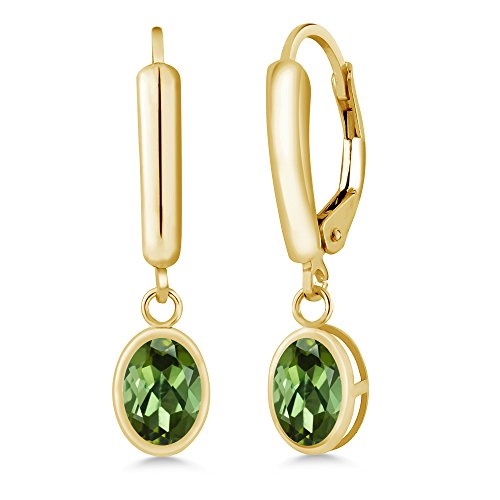 Gem Stone King 1.70 Ct Oval Green Tourmaline 14K Yellow Gold Earrings