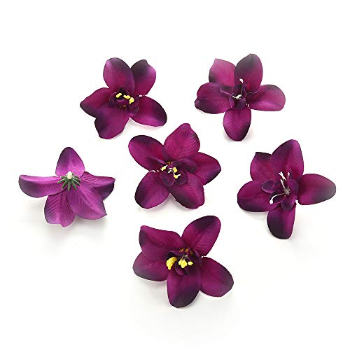 Silk Peony flower heads for crafts bulk decoration Artificial fake Flowers heads orchid Wedding Party Home Room Decoration Marriage Shoe Hats Accessories Handmade Craft Decor 30pcs 7cm (dark purple)