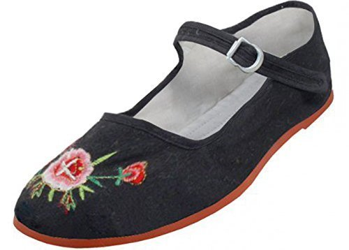 Womens Cotton Mary Jane Shoes Ballerina Ballet Flats Shoes 10 Black EMBROIDERED 114 (Shoes Flat China)