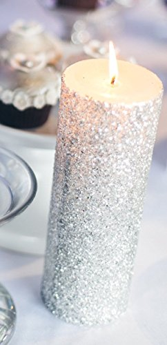 Silver Glitter Pillar Candle Wedding & Party Decor - Choose 4, 6, 9 Inches (Sparkle Pillar Candles)