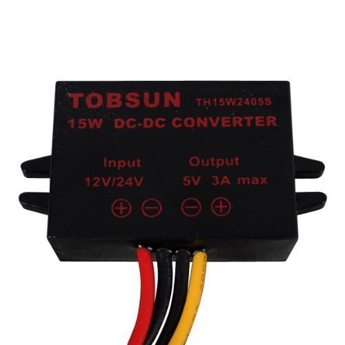 Magnolian DC 12V 24V to 5V 3A 15W Converter Step Down Voltage Regulator Power Supplies Transformer