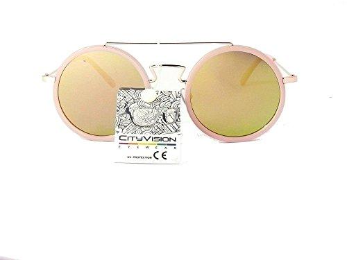 ronds femme lunettes rondes 016437 homme jaune beige monture de soleil verres miroir cityvision verres ngg4FWq