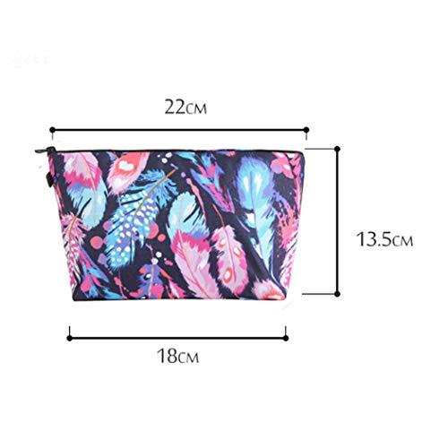Eleusine de Couleur Crayon Sac Impression Trousse Organisateur 3D Feathers Nécessaires Maquillage Pouch Toilette De Sacs Cosmétique PYYwq5xrW