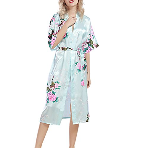 Womens Night Blue Bathrobe Lingerie Robe wp200 Silk nightwear Nightie Light Sexy Zhhlaixing gown 76Xdwq6F