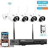 [Newest Strong Version WiFi] Wireless Security Camera System, ISOTECT 8CH Full HD 1080P Video Security System, 4pcs Outdoor/Indoor IP Security Cameras, 65ft Night Vision and Easy Remote View, 1TB HDD