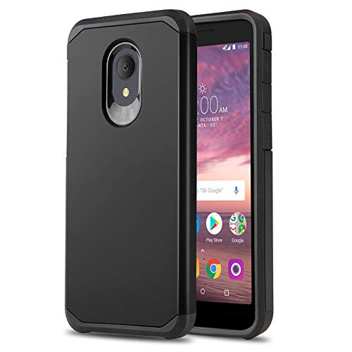 Phone Case for [ALCATEL TCL LX (A502DL)], [DuoTEK Series][Black] Shockproof Cover [Impact Resistant][Defender] for Alcatel TCL LX (Tracfone, Simple Mobile, Straight Talk, Total Wireless)