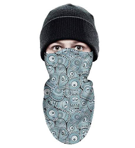 srygjukuu Tough Headwear Alien and Monsters Windproof Balaclava-Ski Mask Winter for Motorcycle Cycling Bike Bandana Hiking Skateboard Skiing ()