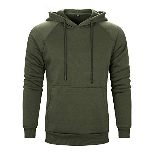 TOLOER Men's Hoodies Pullover Slim Fit Solid Color Sports Outwear Sweatshirts Army Green XX-Large