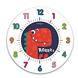 JUSTUP Silent Kids Wall Clock, 12in Non-Ticking Dinosaur Large Decorative Wall Clock Battery Operated Colorful Number Easy to Read for Kids Living Room Classroom (Red)