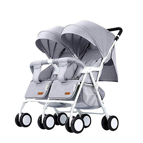 Lightweight Stroller Double – Compact Twin Stroller – Portable Pushchair – Tandem Stroller – Reclining Seat – 0-3 Years Old Maximum Load 25kg / 55lb